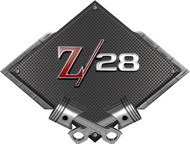 Black Diamond Cross Pistons Z/28 Metal Sign Wall Hanging Art - 25x19 (BLCAMCA28)