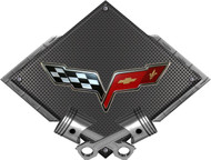 Black Diamond Cross Pistons C6 Flags Metal Sign Wall Hanging Art
