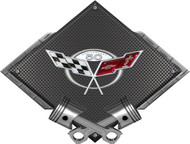 Black Diamond Cross Pistons Corvette 50th Metal Sign Wall Hanging Art - 25x19 (BLCOR50TH)