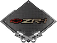 Black Diamond Cross Pistons Corvette C4 ZR1 Original Metal Sign Wall Hanging Art - 25x19 (BLZR1OLD)