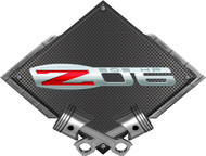 Black Diamond Cross Pistons Z06 505HP Metal Sign Wall Hanging Art - 25x19 (BLZ06505)