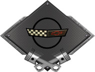 Black Diamond Cross Pistons C4 35th Metal Sign Wall Hanging Art - 25x19