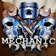 MECHANIC MANCAVE Metal Sign – Flat metal sign 19″ x 18″