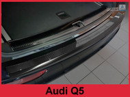 2006-2017 Audi Q5 - Carbon Fiber & Graphite Brushed Stainless Steel Rear Bumper Protector