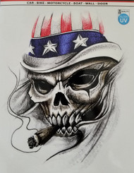 Skull with Cigar and American Flag Hat Decal Sticker
