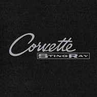 Lloyd Mats Velourtex Black Front Floor Mats For Corvette 1963-65 with Silver C2 Corvette Stingray Embroidery