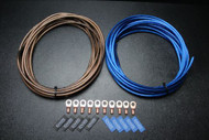 8 GAUGE WIRE 10FT BLUE 10 FT BLACK SHINNY 10PCS COPPER 5/16 RING HEATSHRINK