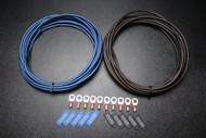 10 GAUGE WIRE 25FT BLUE 25 FT BLACK 10PCS COPPER 5/16 RING HEATSHRINK IB10