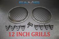 2 12 INCH STEEL SPEAKER SUB SUBWOOFER GRILL MESH COVER W/ CLIPS SCREWS GLKT-12