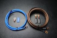 BIG 3 UPGRADE 4 GAUGE WIRE SHINY BLUE BLACK 3/8 COPPER TERMINLAS W/ HEATSHRINK