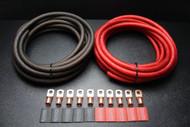 0 GAUGE WIRE 25FT RED 25 FT BLACK SUPERFLEX 10PCS COPPER 3/8 RING HEATSHRINK