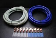 0 GAUGE WIRE 5FT BLUE 5 FT SILVER SUPERFLEX 10PCS COPPER 3/8 RING HEATSHRINK