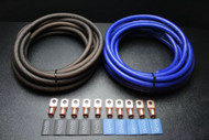 0 GAUGE WIRE 15FT BLUE 15 FT BLACK SUPERFLEX 10PCS COPPER 3/8 RING HEATSHRINK