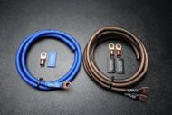 BIG 3 UPGRADE 1/0 GAUGE WIRE FLEX BLUE BLACK 3/8 COPPER TERMINLAS W/ HEATSHRINK