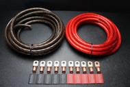 0 GAUGE WIRE 10FT RED 10 FT BLACK SHINY BATTERY 10PCS COPPER 3/8 RING HEATSHRINK