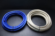 0 GAUGE WIRE 5 FT BLUE 5FT SILVER SHINY STRANDED POWER BATTERY CABLE AMP AWG