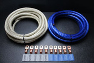 0 GAUGE WIRE 50FT SILVER 50 FT BLUE BATTERY 10PCS COPPER 3/8 RING HEATSHRINK