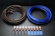 0 GAUGE WIRE 50FT BLUE 50FT BLACK SHINY BATTERY 10PCS COPPER 3/8 RING HEATSHRINK