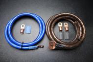 BIG 3 UPGRADE 1/0 GAUGE WIRE SHINY BLUE BLACK 3/8 COPPER TERMINLAS W/ HEATSHRINK