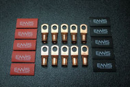 4 GAUGE COPPER #10 RING 10 PK W/ HEATSHRINK RED/BLACK LUG BATTERY AWG CUR410