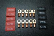 6 GAUGE COPPER 1/2 RING 10 PK W/ HEATSHRINK RED/BLACK LUG BATTERY AWG CUR612