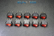 10 PCS ROCKER SWITCH ON OFF MINI TOGGLE RED LED 3P SPST 125V 15 AMP EC-315