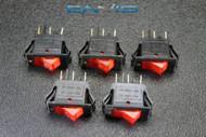 5 PCS ROCKER SWITCH ON OFF MINI TOGGLE RED LED 3P SPST 125V 15 AMP EC-315