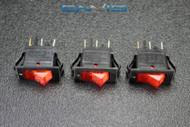 3 PCS ROCKER SWITCH ON OFF MINI TOGGLE RED LED 3P SPST 125V 15 AMP EC-315