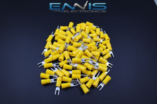 """10 Pack Car Ground Wire Ring Terminals Vinyl Yellow 4 Gauge AWG Ga3//8""""Connectors"""