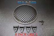 (1) 8 INCH STEEL SPEAKER SUBWOOFER GRILL MESH COVER W/ CLIPS SCREWS GLKT-8