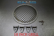 (1) 18 INCH STEEL SPEAKER SUB SUBWOOFER GRILL MESH COVER W/ CLIPS SCREWS GLKT-18