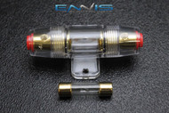 (1) AGU FUSE HOLDER W/ (1) 100 AMP 4 6 8 10 GAUGE IN LINE GLASS AWG WIRE GOLD