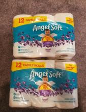 NEW ANGEL SOFT FAMILY ROLLS TOILET PAPER X2 12 PACKS = 24 ROLLS 180 SHEETS