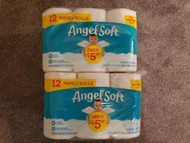 NEW ANGEL SOFT TOILET PAPER FAMILY SIZE X2 12 PACKS = 24 ROLLS TP 200 SHEETS