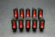 10 PC ROCKER SWITCH ON OFF RED 2 PIN TOGGLE SPST 20A 125V AC EC-2602