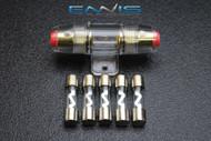 (1) AGU FUSE HOLDER W/ (5) 5 AMP 4 6 8 10 GAUGE IN LINE GLASS AWG WIRE NICKEL