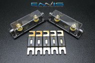 (2) PACK 0 2 4 6 8 GAUGE ANL FUSE HOLDER W/ 5PK 500 AMP GOLD WAFER FUSES WIRE
