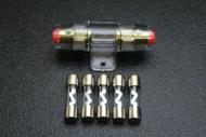 (1) AGU FUSE HOLDER W/ (5) 80 AMP 4 6 8 10 GAUGE IN LINE GLASS AWG WIRE NICKEL