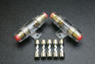 (2) AGU FUSE HOLDER W/ (5) 80 AMP 4 6 8 10 GAUGE IN LINE GLASS AWG WIRE NICKEL