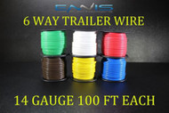 14 GAUGE WIRE ENNIS ELECTRONICS 6 WAY TRAILER LIGHT 100 FT SPOOLS PRIMARY CABLE