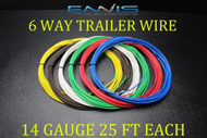14 GAUGE WIRE ENNIS ELECTRONICS 6 WAY TRAILER LIGHT 25 FT EACH PRIMARY CABLE