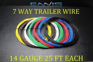 14 GAUGE WIRE ENNIS ELECTRONICS 7 WAY TRAILER LIGHT 25 FT EACH PRIMARY CABLE