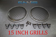 (2) 15 INCH STEEL SPEAKER SUB SUBWOOFER GRILL MESH COVER W/ CLIPS SCREWS GLKT-15