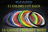 16 GAUGE WIRE 55 FT ENNIS ELECTRONICS 5 FT EA 11 COLORS PRIMARY AWG COPPER CLAD
