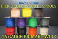 16 GAUGE WIRE ENNIS ELECTRONICS 100 FT EA PRIMARY CABLE AWG COPPER CLAD 3 ROLLS