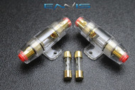 (2) AGU FUSE HOLDER W/ (2) 30 AMP 4 6 8 10 GAUGE IN LINE GLASS AWG WIRE GOLD