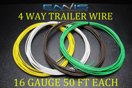 16 GAUGE WIRE ENNIS ELECTRONICS 4 WAY TRAILER LIGHT 50 FT EACH PRIMARY CABLE