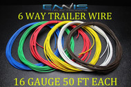 16 GAUGE WIRE ENNIS ELECTRONICS 6 WAY TRAILER LIGHT 50 FT EACH PRIMARY CABLE