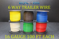 16 GAUGE WIRE ENNIS ELECTRONICS 6 WAY TRAILER LIGHT 100 FT SPOOLS PRIMARY CABLE