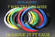 16 GAUGE WIRE ENNIS ELECTRONICS 7 WAY TRAILER LIGHT 25 FT EACH PRIMARY CABLE